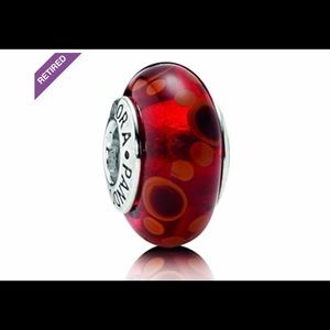 Pandora Red Bubbles Charm- Retired